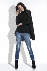 Czarny Sweter Oversize z Golfem