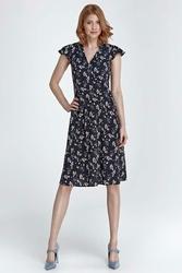 Granatowa Sukienka z Dekoltem V w Kwiaty