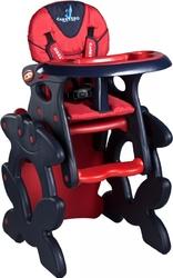 Caretero Primus Czerwone Krzesełko do karmienia + stolik + PUZZLE