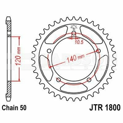 Zębatka tylna stalowa JT 1800-40, 40Z, rozmiar 530 2301914 Triumph Sprint 955