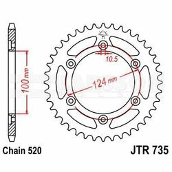 Zębatka tylna stalowa JT 50-32072-48, 48Z, rozmiar 520 2300495 Ducati Supersport 900