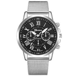 Zegarek MĘSKI GENEVA bransoleta srebrny czarny - silver black