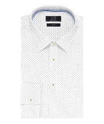 Elegancka biała koszula Profuomo 2.0 w drobny granatowy wzór 37