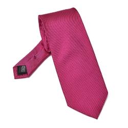 Różowy krawat jedwabny odcień fuksja - prosty splot