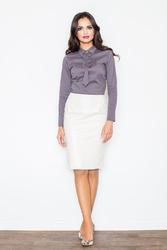 Klasyczna Elegancka Ołówkowa Spódnica w Kolorze Ecru