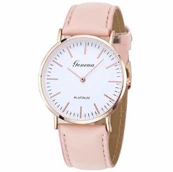 Zegarek damski męski GENEVA skórzany różowy - pink rose gold