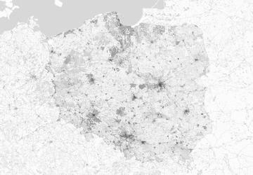 Polska - mapa w odcieniach szarości - fototapeta