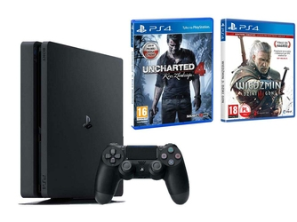 KONSOLA SONY PS4 500 GB SLIM + WIEDŹMIN + UNCHARTED 4