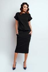 Nowoczesna Czarna Sukienka Midi z Krótkim Rękawkiem