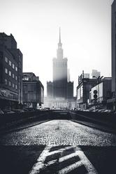 Warszawa W kierunku Pałacu Kultury - plakat premium Wymiar do wyboru: 60x80 cm
