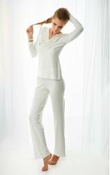 Komplet piżama - koszulka, długie spodnie wiskoza Florence - ecru