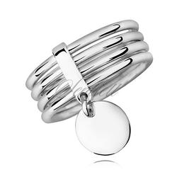 Srebrny, duży pierścionek pr.925 cztery obrączki połączone razem, wysoki połysk