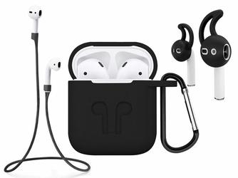 Etui do Apple AirPods silikonowe +nakładki +pasek strap czarny - Czarny