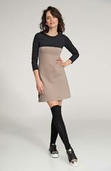 Cappuccino-Czarna Rozkloszowana Mini Sukienka