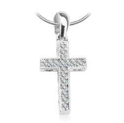 wisiorek krzyżyk białe złoto i diamenty