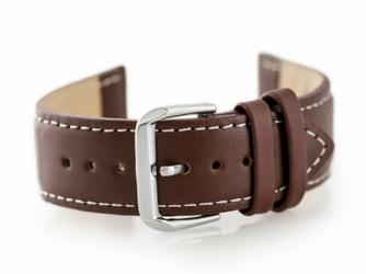 Pasek skórzany do zegarka W30 - w pudełku - brązowybiałe - 22mm