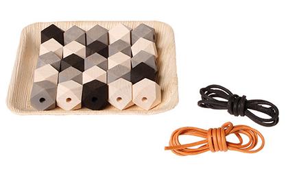 Zestaw drewnianych klejnotów, kolekcja naturalna