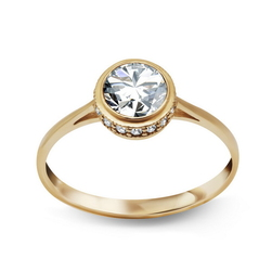pierścionek złoto próby 3338k z cyrkoniami