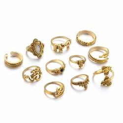 Pierścionki ZESTAW BOHO VINTAGE złote - złoty