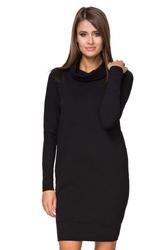 Czarna Sukienka Mini z Golfem