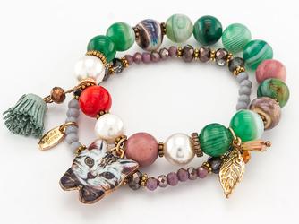 Bransoletka koraliki frendzle kot zielona - ZIELONA