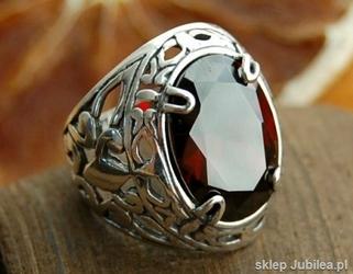 LEON - srebrny pierścień sygnet z granatem