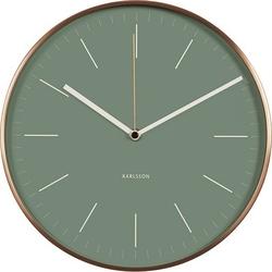 Zegar ścienny Minimal miedziany zielony