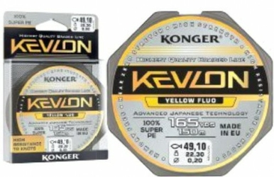 Plecionka Kevlon Yellow Fluo x4 0,16mm 150m 15,90kg Konger