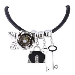 Naszyjnik na kłódkę srebrny - srebrny