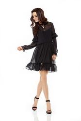 Czarna Sukienka z Delikatną Falbanką z Długim Rękawem
