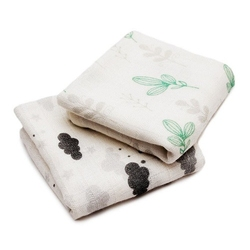 Pulp, Małe Pieluszki, Chusteczki Bambusowe Dwupak 35x40 cm Chmurki Szare i Listki Mięta