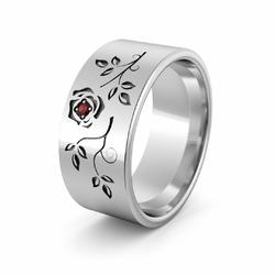 Obrączka srebrna z różą i kamyczkiem - wzór Ag-396
