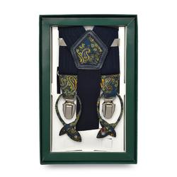 Granatowe szelki do spodni z wykończeniem w niebieskożółty paisley