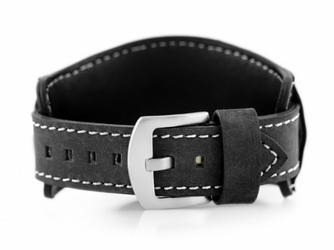 Pasek skórzany do zegarka W84 - podkładka - czarnybiały - 18mm