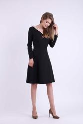 Rozkloszowana Czarna Sukienka z Dekoltem w Kształcie Litery V