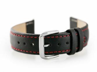 Pasek skórzany do zegarka W30 - w pudełku - czarnyczerwone - 18mm