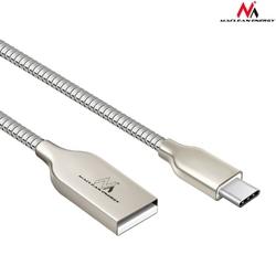 Maclean Kabel USB Type-C metalowy srebrny  MCE192 - Quick  Fast Charge