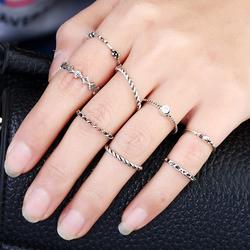 Pierścionki delikatne zestaw srebrny