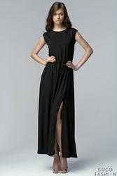 Czarna Sukienka Maxi z Długim Rozporkiem i Wycięciem na Plecach