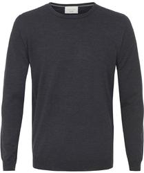 Sweter  pulower O-neck z wełny z merynosów grafitowy XXXL