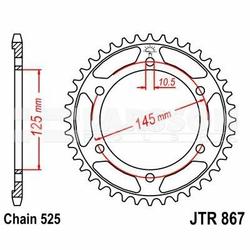 Zębatka tylna stalowa JT 867-42, 42Z, rozmiar 525 2300795 Yamaha TDM 850
