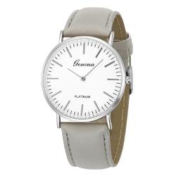 Zegarek damski męski GENEVA skórzany srebrny - srebrny