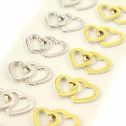 Ślubne naklejki 3D - ZŁĄCZONE SERCA - 12 sztuk - SERCA