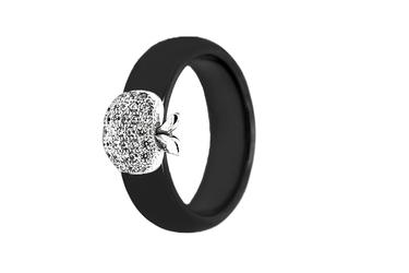 pierścionek srebrny pr.925 czarny z ceramiki PCS110CS jabłko z cyrkoniami