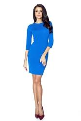 Chabrowa Minimalistyczna Sukienka Ołówkowa z Rękawem 34