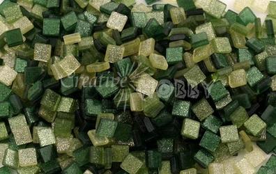 Mozaika glitter zielona 5x5 mm - 700 sztuk - ZIELBRO