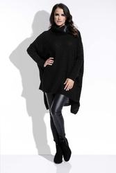 Czarny Sweter Oversizowy z Luźnym Golfem