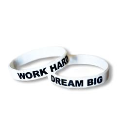 Opaska silikonowa Work Hard Dream Big - biało-czarny