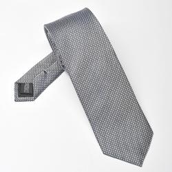 Jedwabny krawat czarno szary mikrowzór