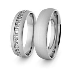 Obrączki ślubne klasyczne z białego złota niklowego 5 mm z brylantami - 88